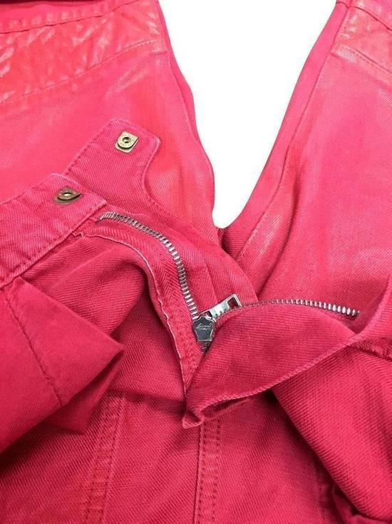 Balmain Balmain Signature Men's Wax Coated Denim Scarlet Red Motto Zip Jeans sz 36 Size US 36 / EU 52 - 5