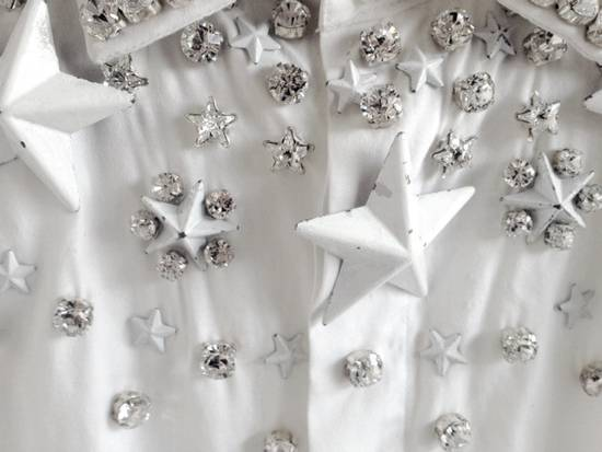 Givenchy GIVENCHY 2012 F/W STAR STUDS & CRYSTAL BEADS WHITE SHIRT Size US M / EU 48-50 / 2 - 5
