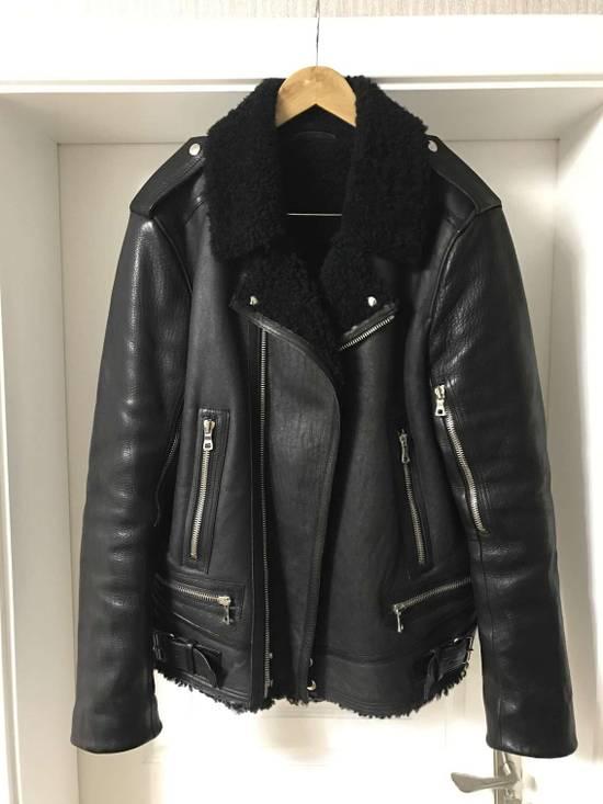 Balmain Black Shearling Leather Biker Jacket Size US M / EU 48-50 / 2