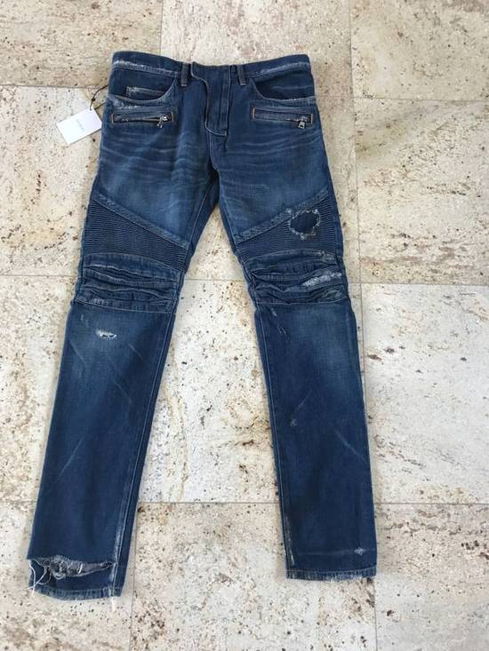 Balmain Distressed Blue Denim Size US 34 / EU 50