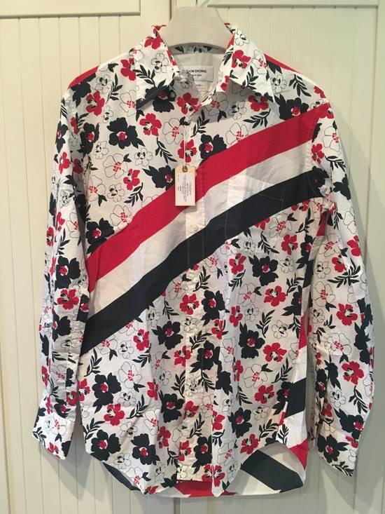 Thom Browne Floral Print Diagonal Stripe Poplin Cotton Shirt Size US XL / EU 56 / 4