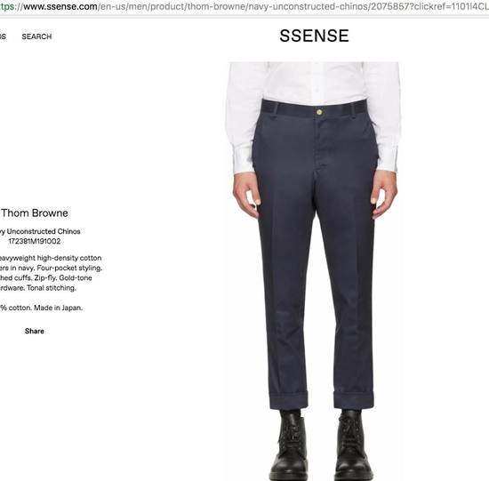 Thom Browne Navy Unstructured Chino Size US 31