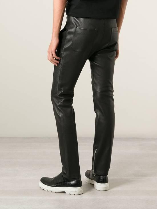 Balmain LAST DROP! Size M Fits S - Slim Fit Leather Ribbed Biker Style Sweatpants - $3100 Retail Size US 30 / EU 46 - 2