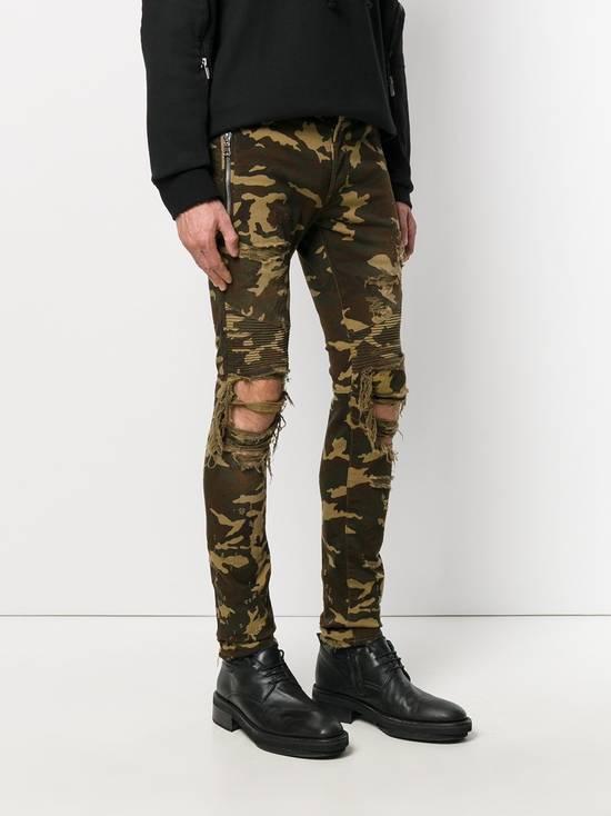 Balmain Size 36 - Heavily Distressed Camo Biker Jeans - FW17 - RARE Size US 36 / EU 52 - 16