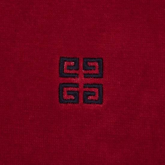 Givenchy Dark Red Men's Velour Crewneck T-Shirt With 4G Chest Logo Size US M / EU 48-50 / 2 - 6