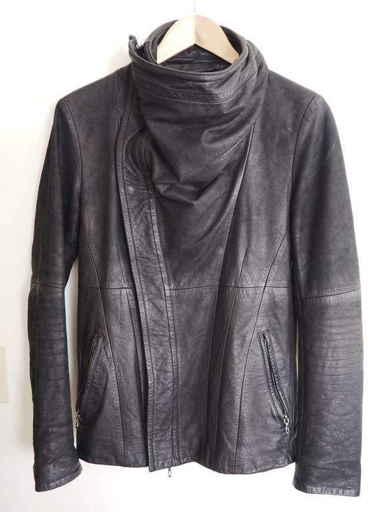Julius FW10 Cowl Neck Leather Jacket Size US S / EU 44-46 / 1
