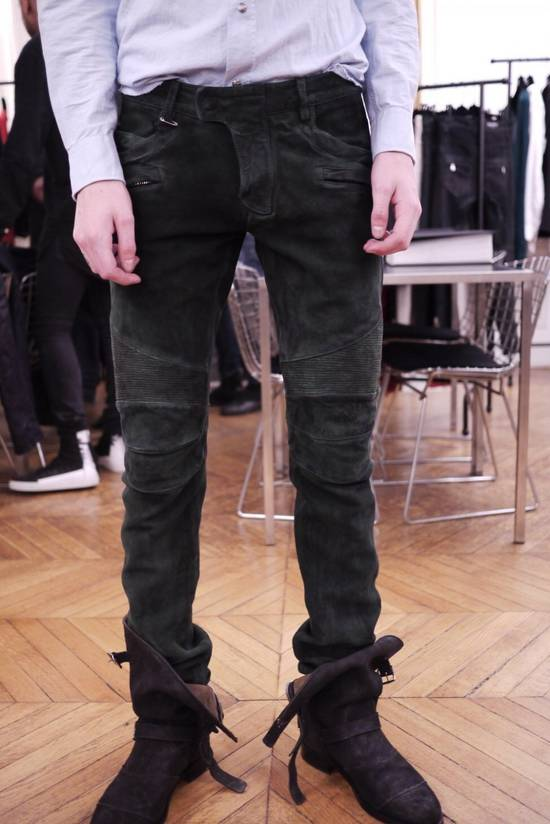 Balmain Balmain FW 2012 Green Suede lambskin Pants Size US 29