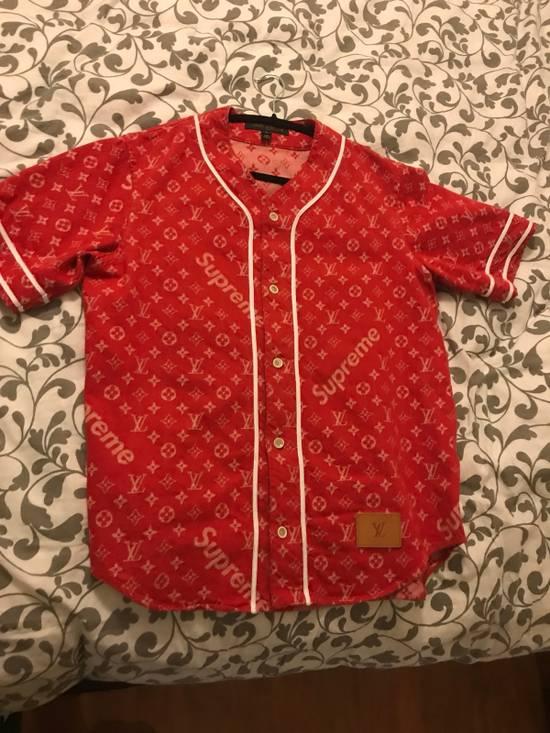 Supreme Louis Vuitton Supreme Red Denim Baseball Jersey Size US S / EU 44-46 / 1