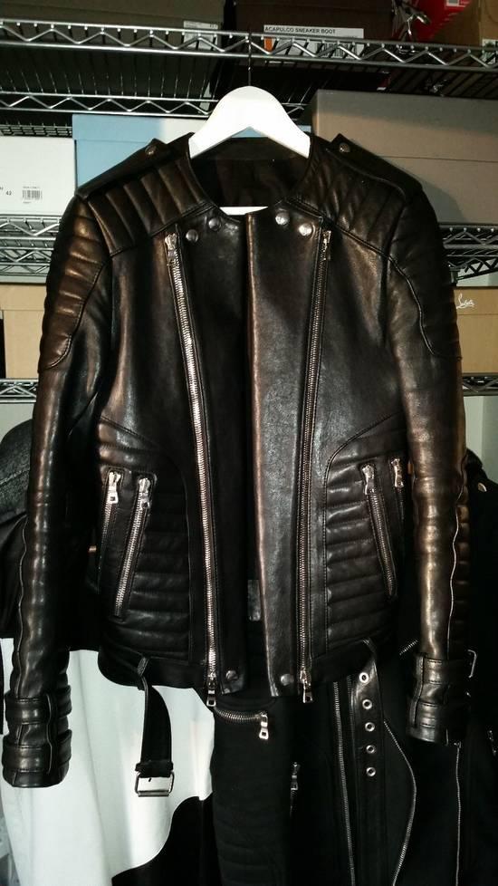 Balmain Black Lambskin Overlong Biker Perfecto Jacket EU48/US38 Size US M / EU 48-50 / 2 - 3