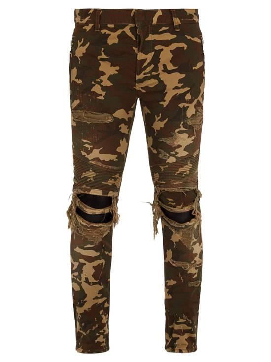 Balmain Size 36 - Heavily Distressed Camo Biker Jeans - FW17 - RARE Size US 36 / EU 52 - 14