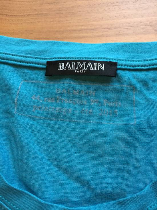 Balmain Light Blue Balmain Tee with White Crest Size US L / EU 52-54 / 3 - 3