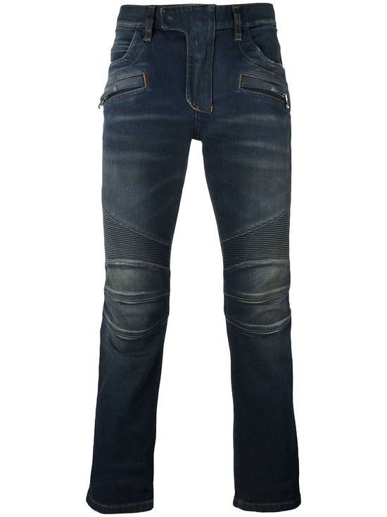 Balmain Dirty Blue Biker Jeans Size US 32 / EU 48 - 1
