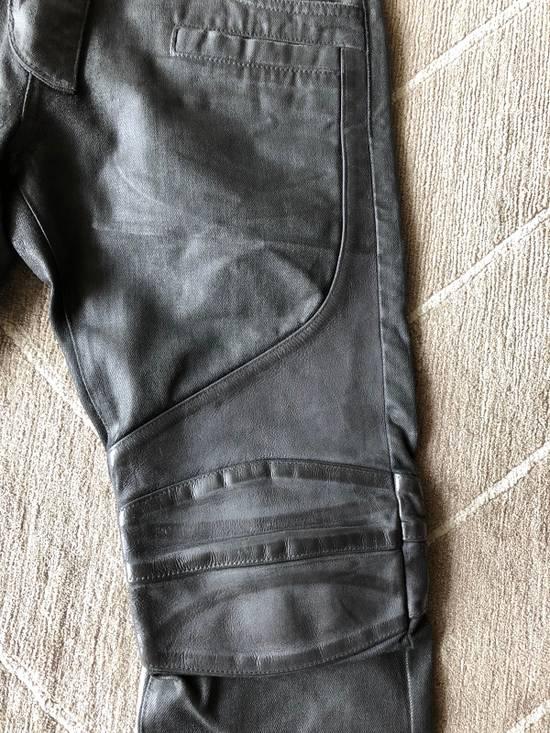 Balmain Biker Jeans Waxed Leather Knee Size US 30 / EU 46 - 3