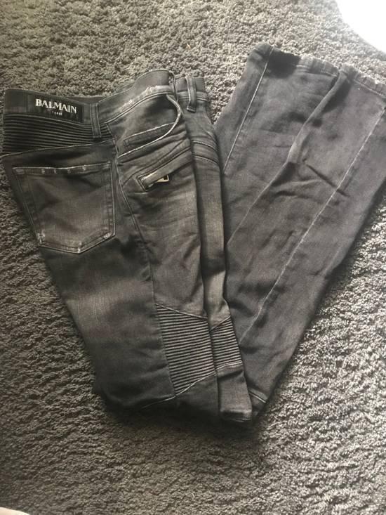 Balmain Grey Distressed Biker Jeans Size US 28 / EU 44 - 9