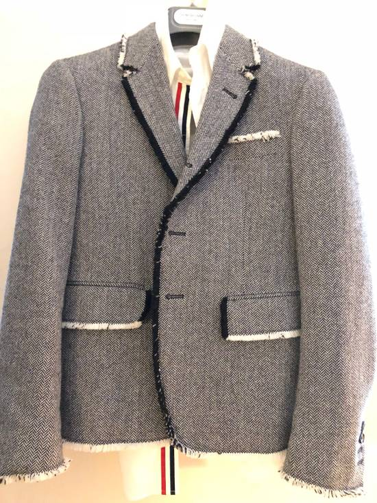 Thom Browne Frayed Wool High Arm Sportcoat Grosgrain Pattern Size 34R - 1