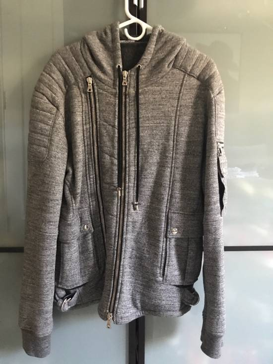 Balmain Heather Grey Biker Hoodie Size US M / EU 48-50 / 2
