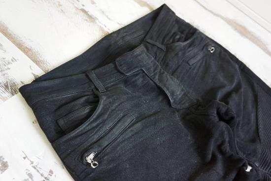 Balmain BALMAIN FW2009 Mens Black Coated Biker Denim Pants Sz 33 Decarnin Era Size US 33 - 1