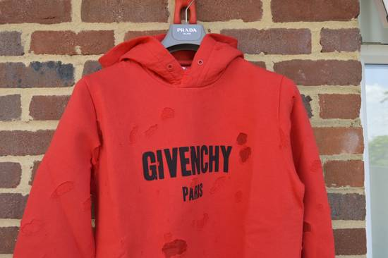 Givenchy Red Destroyed Logo Hoodie Size US XL / EU 56 / 4 - 3