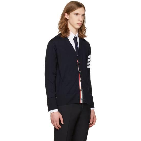 Thom Browne Navy Merino Wool Classic 4 Bar Cardigan Size US XL / EU 56 / 4