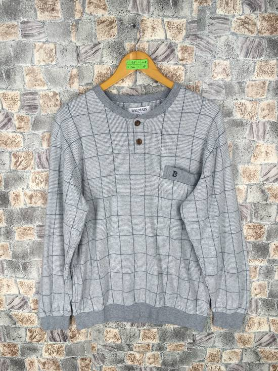Balmain BALMAIN PARIS Sweatshirt Checkered Medium Gray Vintage 90s Balmain Plaid Checkered Balmain Paris Pullover Jumper Size M Size US M / EU 48-50 / 2
