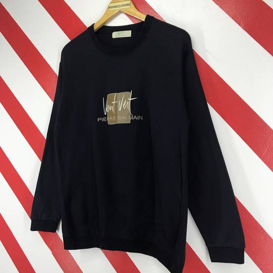 Balmain Vintage 90s Pierre Balmain Sweatshirt Pierre Balmain Paris Sweater Pierre Balmain Jumper Big Logo Embroidery Blue Black Size Medium Size US M / EU 48-50 / 2 - 1