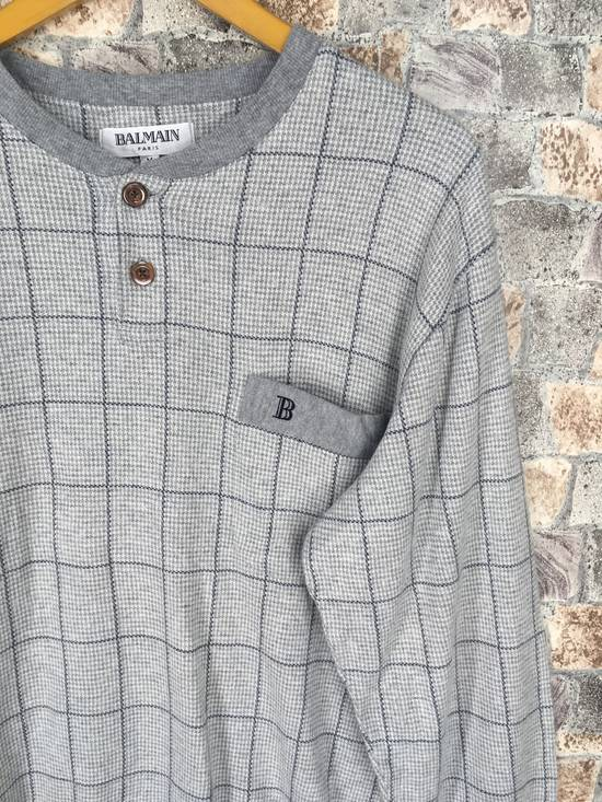 Balmain BALMAIN PARIS Sweatshirt Checkered Medium Gray Vintage 90s Balmain Plaid Checkered Balmain Paris Pullover Jumper Size M Size US M / EU 48-50 / 2 - 3
