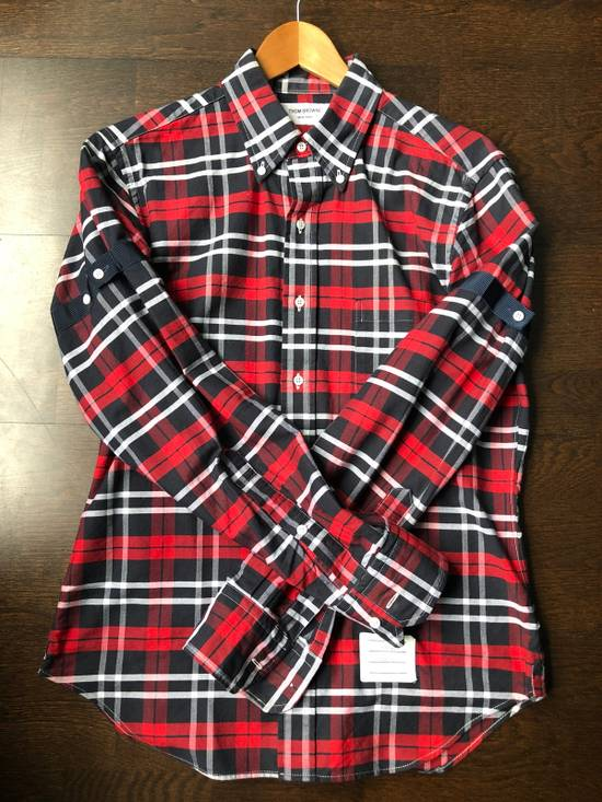 Thom Browne Red/Navy/White Plaid Shirt Size US M / EU 48-50 / 2