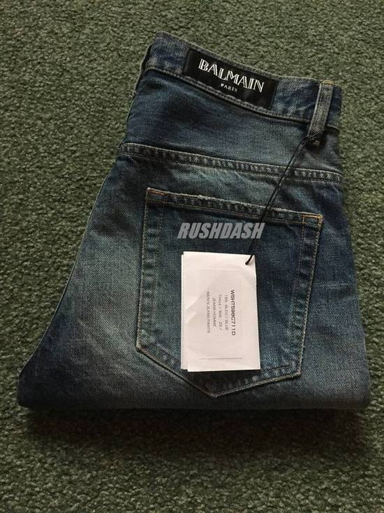 Balmain Knee Rip Blue Faded Twist Jeans(Made in Japan/15.5cm) Very Rare! Size US 29 - 5