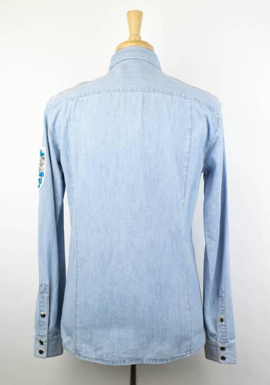 Balmain Denim Embroidered Button Down Casual Shirt Size 15.5 US 39 EU Size US XXS / EU 40 - 2