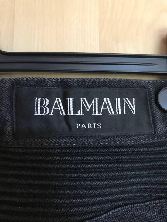 Balmain Black Biker Balmain Jeans Grey/Charcoal Washed Denim Size US 32 / EU 48 - 2