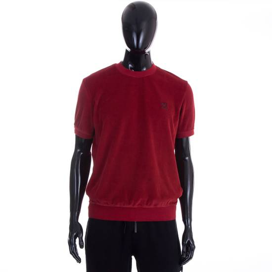 Givenchy Dark Red Men's Velour Crewneck T-Shirt With 4G Chest Logo Size US M / EU 48-50 / 2