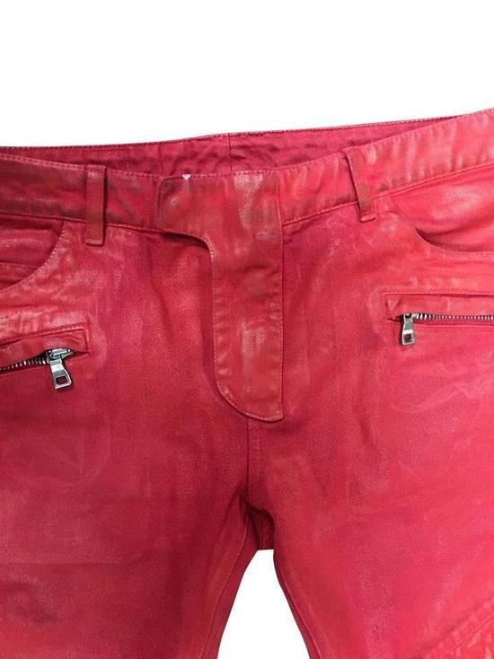 Balmain Balmain Signature Men's Wax Coated Denim Scarlet Red Motto Zip Jeans sz 36 Size US 36 / EU 52 - 4