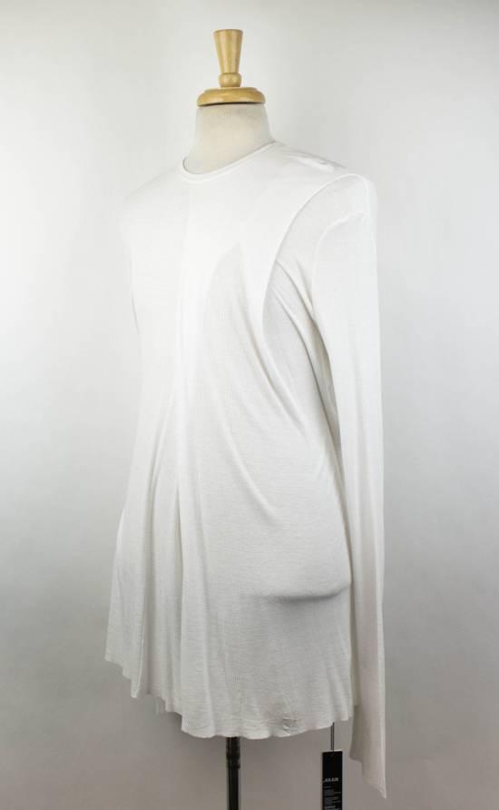Julius 7 White Silk Blend Long Sleeve Long Ribbed Crewneck T-Shirt 4/L Size US L / EU 52-54 / 3 - 1