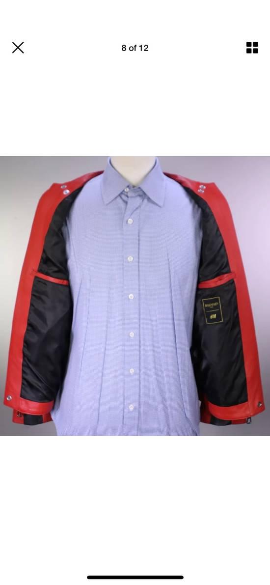 Balmain H&M x Balmain Red Leather Biker Jacket Size US S / EU 44-46 / 1 - 5
