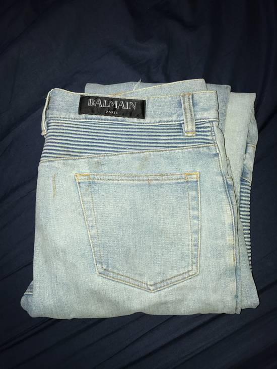Balmain Blue Distressed Biker Rib Jeans Size US 34 / EU 50 - 1