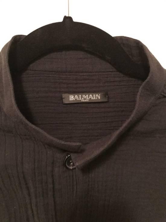 Balmain Black Mandarin Collar Wrinkle Effect Utility Shirt Size US M / EU 48-50 / 2 - 5