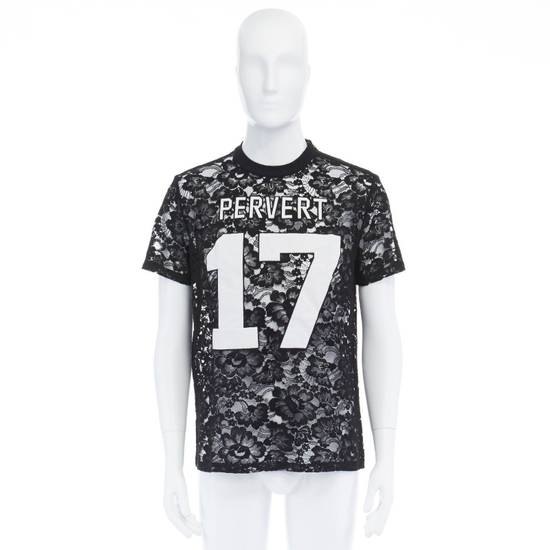 Givenchy GIVENCHY TISCI black sheer lace Pervert 17 patched football jersey top IT38 M Size US M / EU 48-50 / 2 - 1