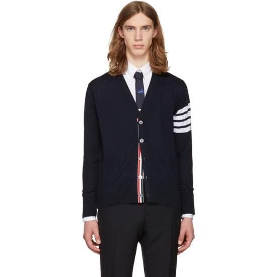 Thom Browne Navy Merino Wool Classic 4 Bar Cardigan Size US XL / EU 56 / 4 - 1