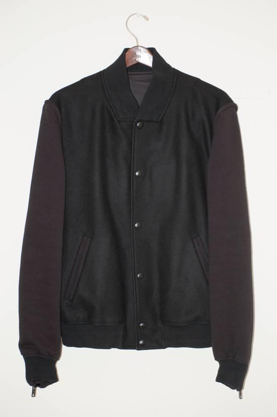 Givenchy Fw 11 Black Wool Blend Zip Sleeve Snap Baseball Bomber Jacket Size US L / EU 52-54 / 3 - 1