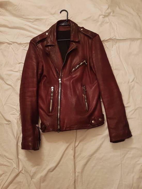 Balmain Oxblood Lambskin Leather Biker Jacket Size US L / EU 52-54 / 3 - 3