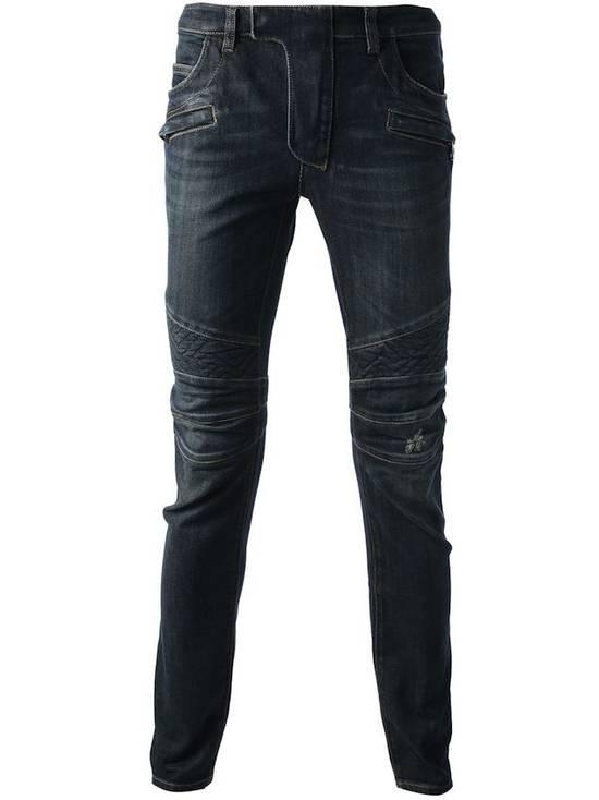 Balmain Balmain Geometric Quilted Paneled Biker Denim Jeans Size 32 Size US 32 / EU 48 - 3