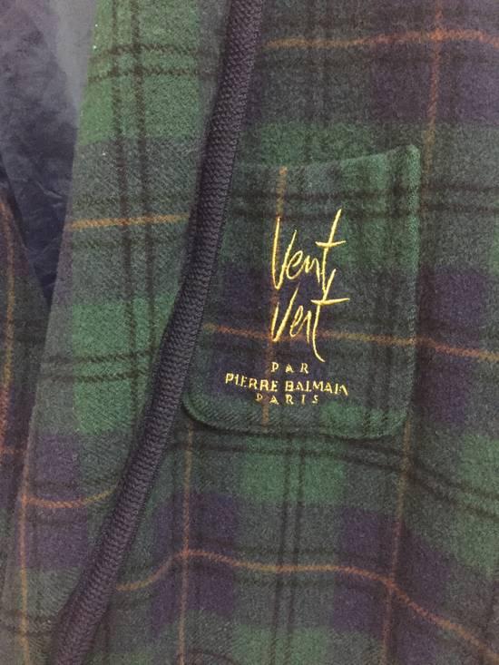Balmain Vintage 90s Vent Vent PAR Pierre Balmain sleepwear wool plaid flannel in cupra lining japan. Size 38R - 3