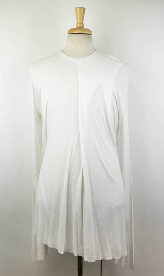 Julius 7 White Silk Blend Long Sleeve Long Ribbed Crewneck T-Shirt 3/M Size US M / EU 48-50 / 2