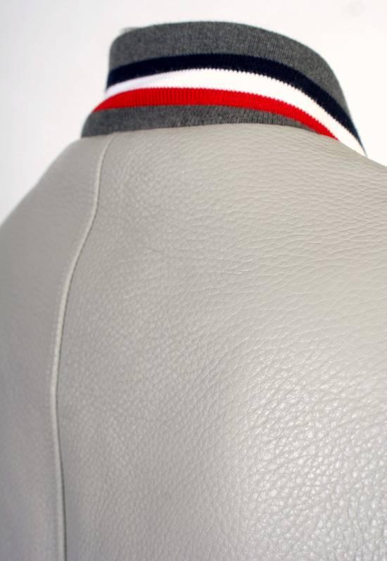 Thom Browne Thom Brown Deerskin Leather Varsity Jacket Grey Size 3 EU50 Medium RRP $3325 Size US M / EU 48-50 / 2 - 12