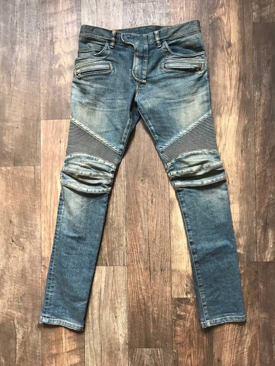Balmain Blue Distressed Ribbed Biker jeans Size US 31