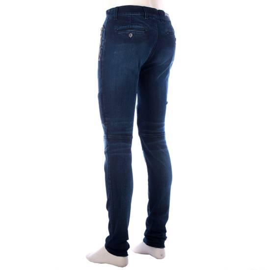 Balmain 995$ New Dark Blue Cotton Blend Biker Jeans Size US 29 - 5