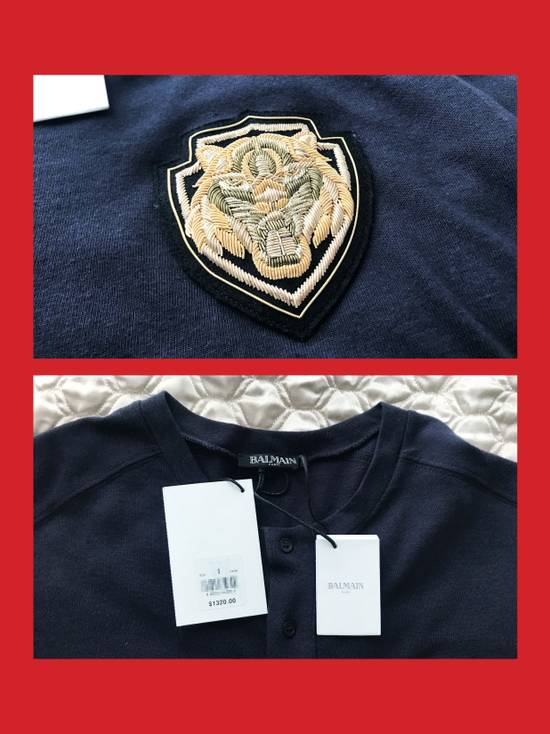 Balmain Cotton and Silk Henley T-Shirt with Embroidery Size US S / EU 44-46 / 1 - 3