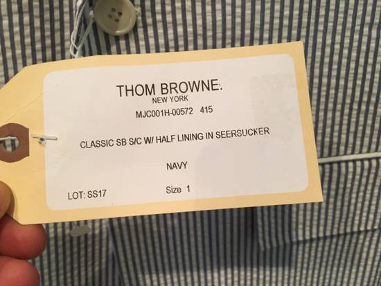 Thom Browne Men's High Armhole Jacket in Navy/White Seersucker Size US S / EU 44-46 / 1 - 1