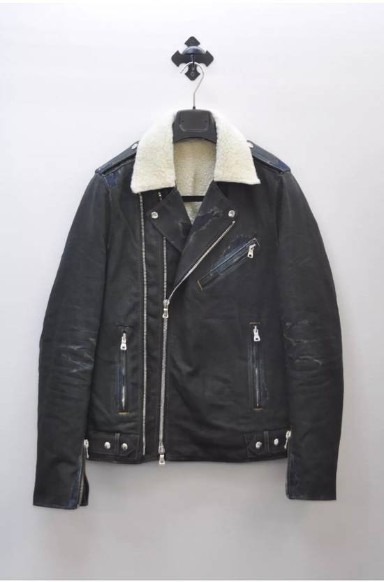 Balmain Balmain shearling and cotton biker jacket with destroyed effect Size US L / EU 52-54 / 3