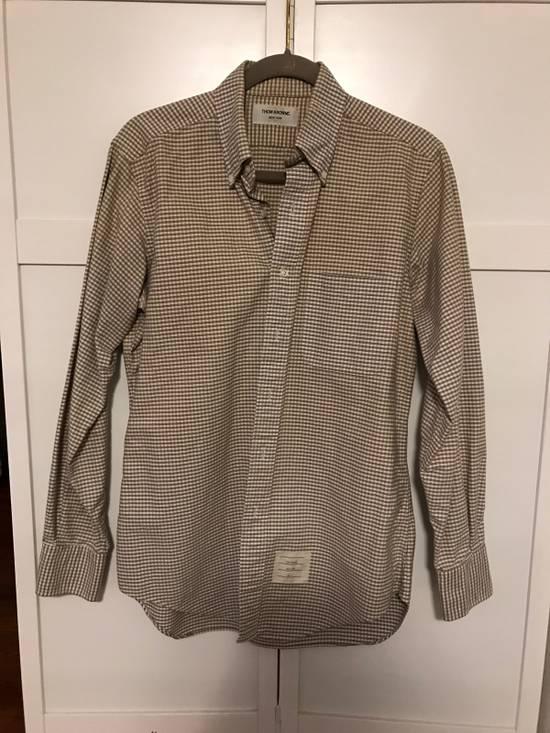 Thom Browne Grey Gingham Oxford Collar Buttondown Shirt Size US L / EU 52-54 / 3